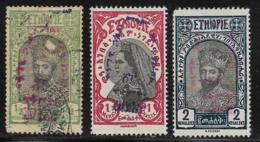 Ethiopia Scott # 202 Used,203-4 Unused No Gum Tafari, Zauditu,handstamped, 1930 #202 Has A Face Scrape - Ethiopia