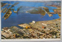 Sault Ste. Marie, Ontario, Canada - Aerial View Of Canadian & American Soo Locks & Rapids -  Vg - Niagara Falls
