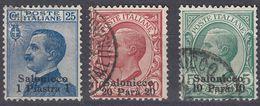 UFFICIO DI SALONICCO - 1909 - Lotto Di 3 Valori Usati: Unificato 1, 2 E 4, Come Da Immagine. - European And Asian Offices