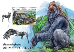 Angola  2018  Fauna Crocodile, Gorilla  , Endangered Species Of Angola S201901 - Angola
