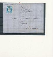 N°60 SUR LETTRE VARIETE ET OBLITERATION - 1871-1875 Cérès