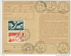 1948 - 200f + 100f  N°PA18 Et19 Sur Carte D'abonnement Aux Timbres-poste - établie à Nancy Meurthe-et-Moselle - Tarifas Postales