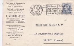 BELGIQUE CARTE PUBLICITAIRE FABRIQUE BONNETERIE MERCHIE PEDE BRUXELLES EN 1926 - Covers & Documents