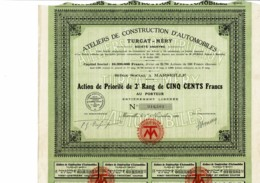 13-AUTOMOBILES TURCAT-MERY. Constructeur à Marseille. AP 2è Rang De 1921 - Shareholdings