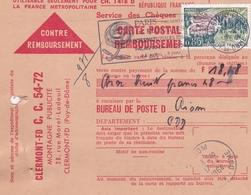 FRANCE CARTE CONTRE REMBOURSEMENT CLERMONT FERRAND BUREAU POSTE DE RIOM EN 1964 - Storia Postale