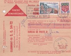 FRANCE CARTE CONTRE REMBOURSEMENT CLERMONT FERRAND BUREAU POSTE DE RIOM EN 1964 - Marcophilie (Lettres)
