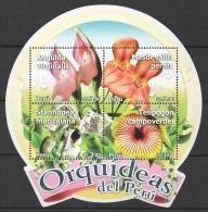 Peru (2010) Yv. Bf. 58  /  Blumen - Flowers - Fleurs - Flores - Fiori - Orchidees - Orchids - Orquideas - Orchidées