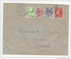 1945 - Lettre De Quimperlé  Pour Audierne Affr. 10c Coq D'Alger + 1f Mazelin + 50c Et 40c Chaînes Brisées - 1944 Marianne Van Algerije