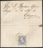 "1870. ORBAICETA (NAVARRA) A OCHAGAVIA. 50 MILS. ED. 107 AL DORSO. MAT. ""CARTERIA DE/BURGUETE"". MUY BONITA Y MUY RARA. - 1868-70 Gobierno Provisional"