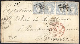 1872. MONTILLA A CÓRDOBA. 50 MILS. ULTRAMAR ED. 107 (4). INUSUAL COMBINACIÓN PARA CUBRIR LA TARIFA A INGLATERRA. - 1870-72 Regencia