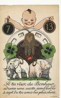 Elephant Blanc Porte Bonheur Et Cochon  Lucky White Elephant And Pig 7 Number 13 Pub Biscuit Jouvet - Éléphants