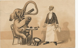 Elephant Humain Buvant Au Café  Cigare Garçon De Café Humanized Elephant - Éléphants
