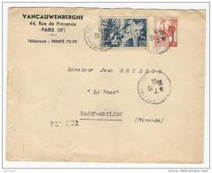 1945 - Recommandé Provisoire Griffe Paris 22 Pour Saint-Emilion Affr. 50c Coq D'Alger + 4f Libération - 1944 Gallo E Marianna Di Algeri