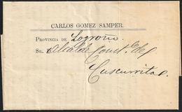 1872 Ca. MADRID A CUZCURRITA (LA RIOJA). 4/4 CTS. ED. 115 ULTRAMAR. IMPRESO. SELLO AL DORSO SIN MAT. MAGNÍFICO Y RARO. - 1870-72 Regencia