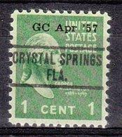 USA Precancel Vorausentwertung Preo, Locals Florida, Crystal Springs 734 Dated - Precancels