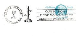"""Etats Unis USA. Carte Pré-timbrée  1972. """"Our Nation's First Monument To George Washington"""" Balpex Station - George Washington"""