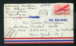 FRANCE :   L.A.C.  DE BIRMINGHAM (USA) POUR NEW YORK (POSTE AUX ARMÉES  99046 - FRENCH ARMY) EN 1945 (voir Scan) - Guerres