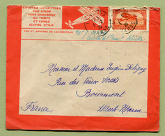 KENITRA  :  LETTRE PAR AVION De 1925 - Morocco (1891-1956)