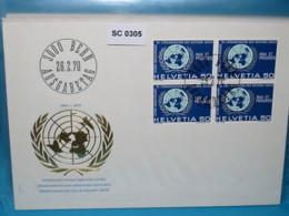 SC0305 FDC 25 Jahre Vereinte Nationen, UNO, Schweiz 1970 - Poststempel