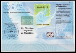 MACEDONIA / MACEDOINE Is42  20171120 AA Intern. Reply Coupon Reponse Antwortschein IAS IRC Hologram O SKOPJE 22.02.2019 - Mazedonien