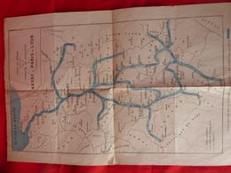 Carte Ancienne Du Réseau Fluvial (2569 Kms) Exploité Par La COMPAGNIE De NAVIGATION Du HAVRE à PARIS Et LYON - Europe
