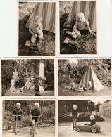 Lot De 6 Photographies De Jouets D'enfants, Voiture à Pédales Ferrari, Trottinette, Train En Bois, Tente D'indien, 1965 - Objets