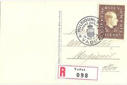 Liechtenstein 1939: Fürst Franz-Josef II. Zu 149 Mi 185 Yv 160 Auf R-Bildkarte Mit ET-o VADUZ 29.MAI.39 (Zu CHF 100.00) - Liechtenstein