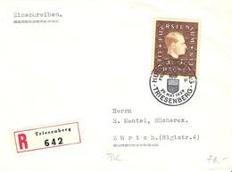 Liechtenstein 1939: Fürst Franz-Josef II. Zu 149 Mi 185 Yv 160 Auf R-FDC Mit O TRIESENBERG 29.MAI 1939 (Zu CHF 100.00) - FDC