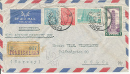 India Air Mail Cover Sent To Norway Pondicherry 15-1-1955 (See Scan For Quality Of The Cover) - Poste Aérienne