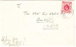 Brief Aus Kowloon Nach Bombay; Ankunftsstempel Rückseitig - Hong Kong (...-1997)