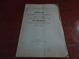 ANALISI QUALITATIVA E QUANTITATIVA DELLE ACQUE DEI MOLINELLI-DOTTOR EUGENIO CASORIA - SCIACCA (AG) 1907 - Médecine, Biologie, Chimie