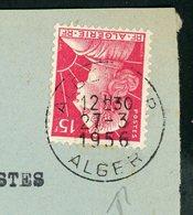 TYPE MULLER 15F SUR DEVANT D'ENVELOP. OBLITÉRÉ DE ALGER POUR MARSEILLE 1956 - Algeria (1924-1962)