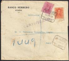 1930. CERTIFICADO DE OVIEDO A BOAL. 5 CTS. ED. 312 Y 50 CTS. ED. 320. AL DORSO LLEGADA. MAGNÍFICO. - Cartas