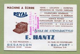 "BELFORT  : "" MACHINE A ECRIRE "" ROYAL "" - E. HANTZ "" - Visiting Cards"