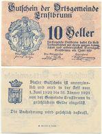 Ernstbrunn Bei Korneuburg, 1 Schein Notgeld 1920, Wappen, Österreich 10 Heller - Oesterreich
