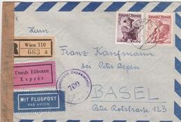 Autriche Lettre Recommandée Censurée Par Exprès Par Avion Pour La Suisse 1951 - 1945-.... 2ème République