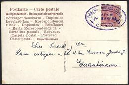 "1907. TARJETA POSTAL A GUANTANAMO. 10 CTS. ED. 243. MAT. ""PINILLOS IZQUIERDO Y CAS/VAPOR/VALBANERA/CADIZ2. MAGNÍFICA. - 1889-1931 Reino: Alfonso XIII"
