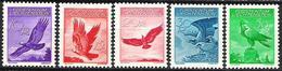 Liechtenstein 1935: Adler Aigle Eagle Zu PA 9z-13z Mi 143z-147z * Geriffelt Grillé Falz MLH (SBK 2017 CHF 130.00 Für *) - Poste Aérienne