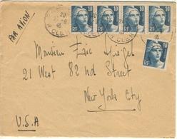 BANDE 4x10F GANDON TD +1 TARIF LETTRE AVION USA 2ème ECHELON27/9/46 - TB - Marcophilie (Lettres)