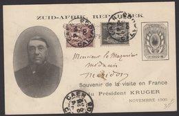 CALVADOS: Carte Souvenir De La Visite Du Président KRUGER 1900 Avec 4c +1c Sage Oblt  CàD Type A2b CAEN > NISSAN - Entiers Postaux
