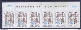 Marianne De Ciappa 0,10 Surcharge Paris Philex 2018 Bande Haut De Feuille De 6 TP Avec  Marianne Et La Jeunesse - 2013-... Marianne De Ciappa-Kawena