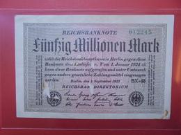 Reichsbanknote 50 MILLIONEN MARK 1923 VARIETE N°1 - [ 3] 1918-1933: Weimarrepubliek