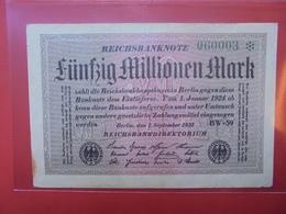 Reichsbanknote 50 MILLIONEN MARK 1923 VARIETE N°2 - [ 3] 1918-1933: Weimarrepubliek