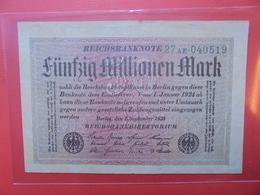 Reichsbanknote 50 MILLIONEN MARK 1923 VARIETE N°3 - [ 3] 1918-1933 : Repubblica  Di Weimar