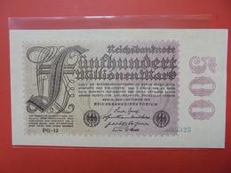 Reichsbanknote 500 MILLIONEN MARK 1923 VARIETE N°1 - [ 3] 1918-1933: Weimarrepubliek