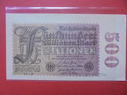 Reichsbanknote 500 MILLIONEN MARK 1923 VARIETE N°2 - [ 3] 1918-1933: Weimarrepubliek
