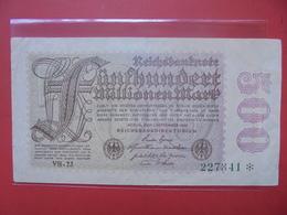 Reichsbanknote 500 MILLIONEN MARK 1923 VARIETE N°3 - [ 3] 1918-1933: Weimarrepubliek