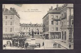CPA 38 - GRENOBLE - La Place Et La Statue Vaucanson - TB PLAN CENTRE VILLE ANIMATION TB 2 TRAMWAYS - Grenoble