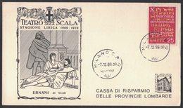 YN5   Italia - Card Pubblicitaria Teatro Alla Scala  Stagione Lirica 1969/70 Ernani Di G.Verdi - Musique