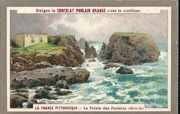 """Chromos Chocolat Poulain Orange Série La France Pittoresque N°7 """"La Pointe Des Poulains (Belle Ile) - Poulain"""